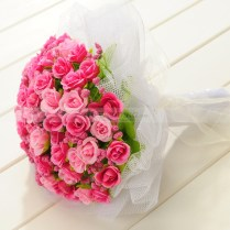 Tulle Wrapped Fuchsia And Pink Rose Wedding Bouquet