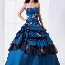 Two Tones Royal Blue Black Ball Gown Prom Wedding Dresses Non