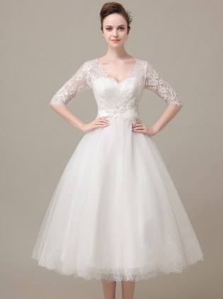 Vintage Tea Length Lace Wedding Dress With Short