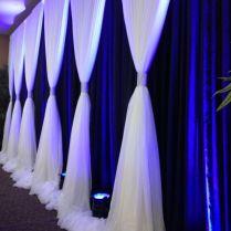 Wedding Backdrop With Navy Background And White Ivory Gathered
