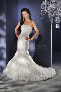Wedding Dresses With Feathers Feather Skirt Wedding Gown