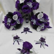 Wedding Silk Flower Bridal Bouquets Package Calla Lily Black
