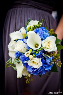 White Rose, Stephanotis, Calla Bouquet With Blue Belladonna