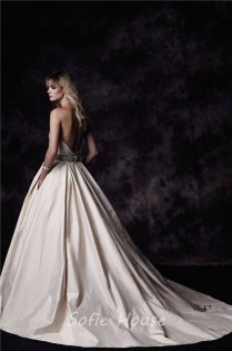 Ball Gown Sweetheart Low Back Champagne Taffeta Ruched Wedding