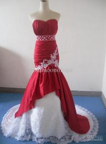 Beautiful Sweetheart Red Satin With White Lace Mermaid Wedding