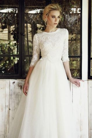 Elegant 3 4 Sleeve Wedding Dress 84 About Romantic Wedding Dresses