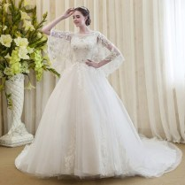 Luxury Vintage Batwing Sleeve Lace Wedding Dress 2016 Ball Gown
