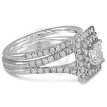 Princess Cut Double Halo Split Shank Diamond Engagement Ring