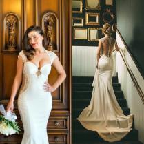Real Photos Mermaid Wedding Dresses 2016 Illusion Back Spring