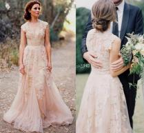 Reem Acra Blush Lace Wedding Dress Naf Dresses