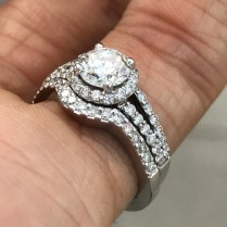 Round Halo Engagement Ring Split Shank Matching Band