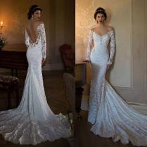 Sexy Berta 2015 Mermaid Wedding Dresses Off Shoulder Long Sleeves