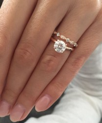 Solitaire Engagement Ring With Double Wedding Band