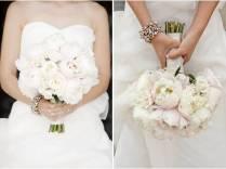 Strapless Wedding Dress, Ivory And Blush Pink Peony Bridal Bouquet
