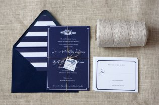 The Knot Navy White Wedding Invitations