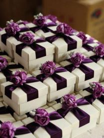 White Wedding Favor Candy Box With Purple Ribbon And Purple