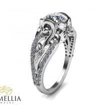 14k White Gold Diamond Engagement Ring Leaf Engagement Ring Unique