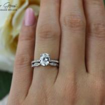 1 5 Ctw Oval Art Deco Swirl Ring, Solitaire Bridal Set, Half