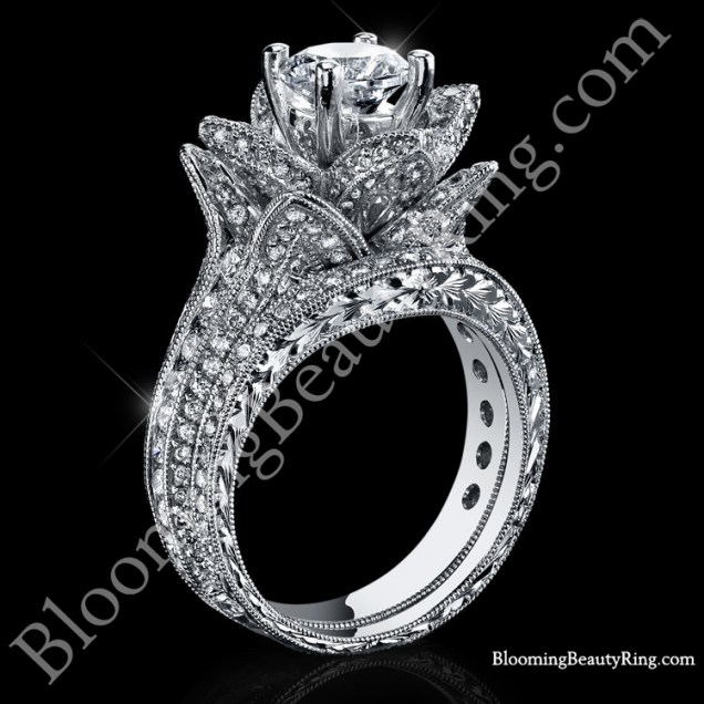 1 67 Ctw Small Hand Engraved Blooming Beauty Wedding Ring Set