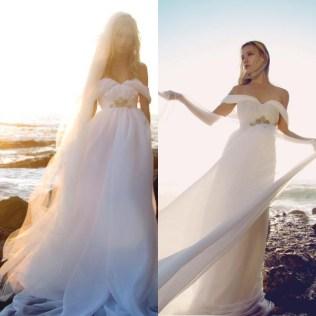 2015 Flowing Chiffon Wedding Dress Summer Off Shoulder Beach