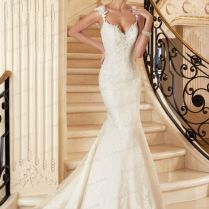 2015 Free Shipping Mermaid Wedding Dresses Lace Appliques Sweep