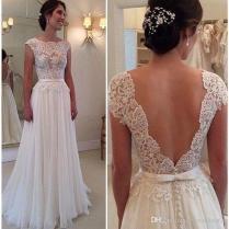 2016 Wedding Dresses Backless Illusion Bodice Wedding Dress Floor