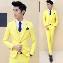 2017 Custom Made Yellow Groom Tuxedos 3 Piece Slim Fit Mens