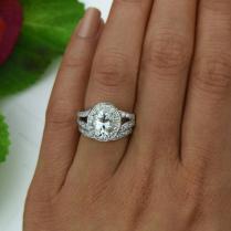 3 Ctw Split Shank Wedding Set, Oval Engagement Ring, Halo Bridal