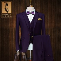 3 Pieces Italian Groom Wedding Purple Suits For Men Single