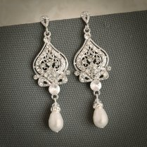 58 Bridal Vintage Earrings, Vintage Style Wedding Earrings Cz