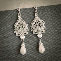 58 Bridal Vintage Earrings, Vintage Style Wedding Earrings Cz