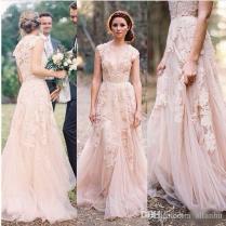 Amazing Reem Acra Blush Lace Wedding Dress 43 For Your Wedding