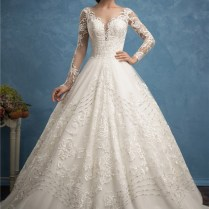 Ball Gown Illusion Neckline Long Sleeve Tulle Lace Pearl Wedding Dress
