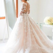Ball Gown Jewel Long Illusion Back Pearl Pink Tulle Wedding Dress