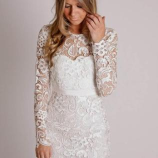 Beautiful White Lace Dress Short 56 In Used Wedding Dresses With