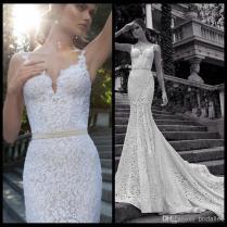 Berta Winter 2014 Mermaid Lace Wedding Gowns Spaghetti Straps