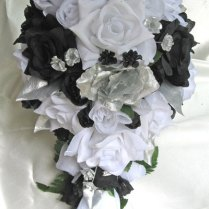 Black White And Silver Wedding Bouquets Black White Silver Roses
