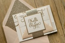 Blush And Gold Glitter Elegant Wedding Invitations Elegant Wedding