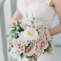 Blush Pink Rose And White Floral Wedding Bouquet White Peonies