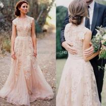 Blush Wedding Dress With Sleeves Naf Dresses