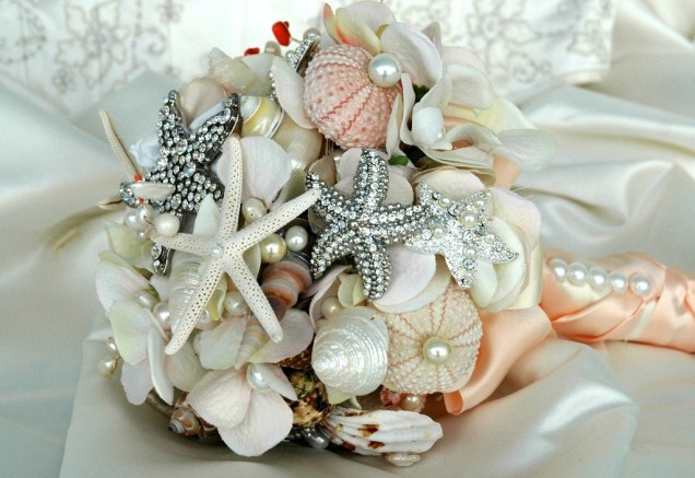 Bridal Bouquet Brooches And Shells