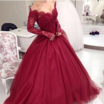 Burgundy Wedding Dresses 2017 Off The Shoulder Ball Gown Lace