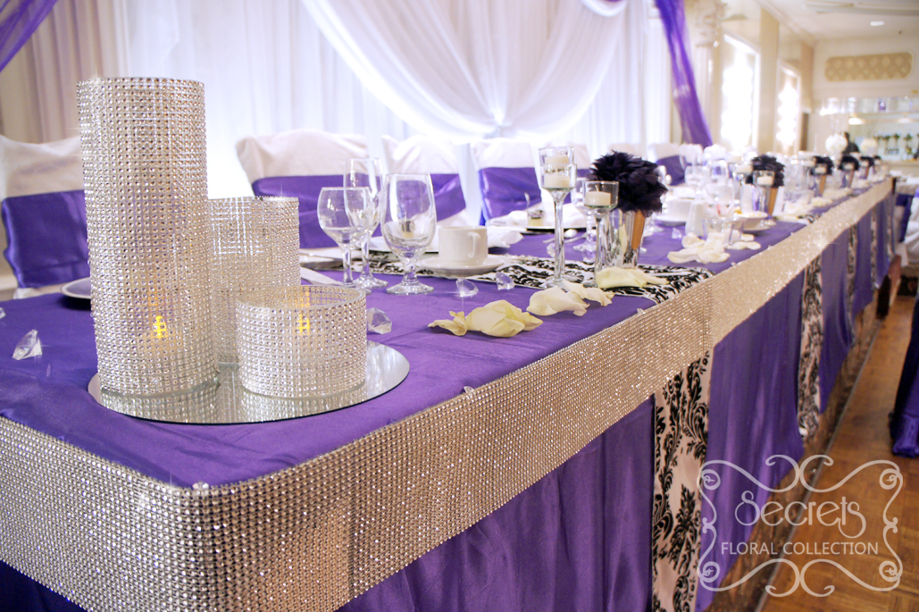 Table Decorations With Damask And Silver
