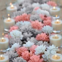 Coral And Grey Mixed Wooden Flowers, Wedding Decorations, Wedding