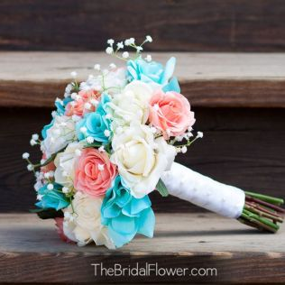 Coral And Tiffany Blue Real Touch And Silk Wedding Bouquet Set