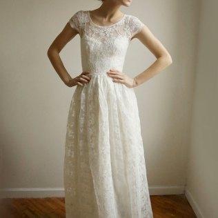 Cotton Wedding Dresses Long Piece, Lace And Cotton