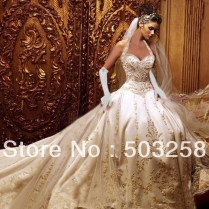 Cream And Gold Wedding Dress