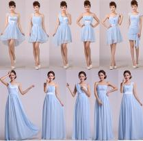 Custom Design Light Blue Formal Dress Bridesmaid Dresses Costume
