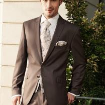 Custom Mens Wedding Tuxedos Brown Mens Suits Notched Lapel Wedding