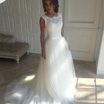Discount Boat Neck White Cheap Boho Chic Wedding Dress Wedding